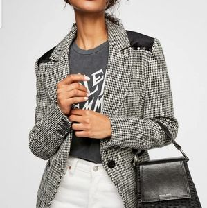 Free People black rodeo blazer in houndstooth